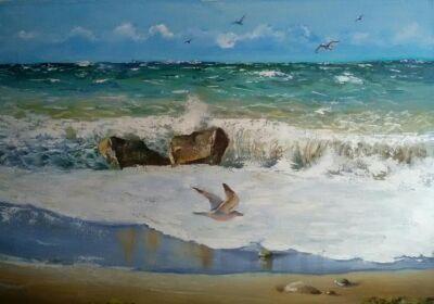 """Картина маслом """"Осеннее море, Абхазия"""""""