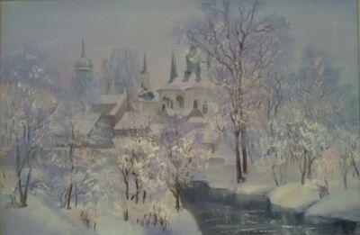 """Картина маслом """"Быковская церковь зимой"""""""