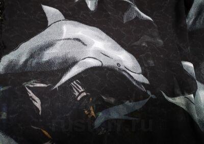"""Парео """"Дельфины"""" (чёрный)"""