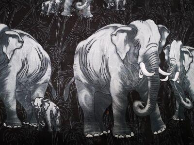 """Парео """"Слоны"""" (чёрный)"""