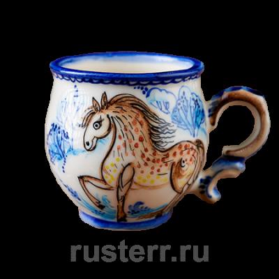 """Чашка кофейная 100 мл роспись """"Лошадка"""""""