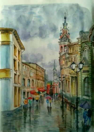 """Картина акварелью """"Дождь на Никольской"""""""