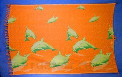 """Парео """"Дельфины"""" (рыжий)"""
